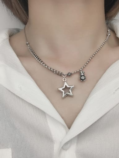 Vintage Sterling Silver With Platinum Plated Vintage Star Necklaces