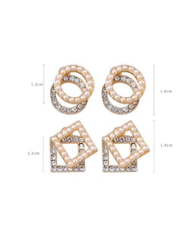 Alloy With Imitation Gold Plated Simplistic Hollow Geometric Stud Earrings
