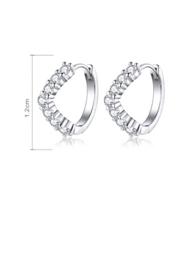 925 Sterling Silver With  White Gold Plated Minimalist Geometric Clip On Earrings