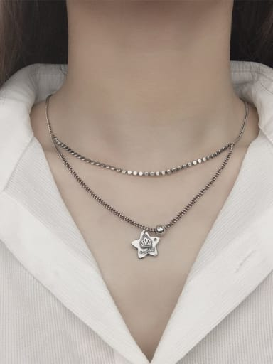 Vintage Sterling Silver With Antique Silver Plated Vintage Star Multi Strand Necklaces