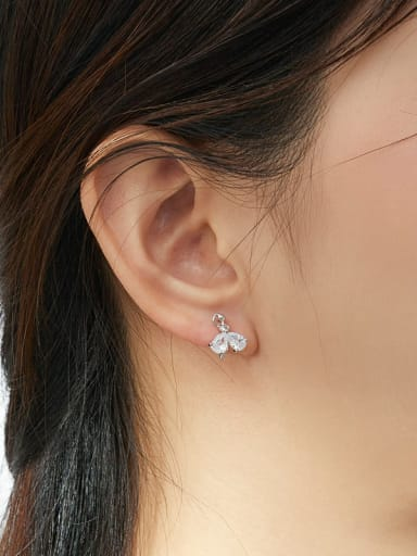 925 Sterling Silver With White Gold Plated Minimalist Leaf Stud Earrings