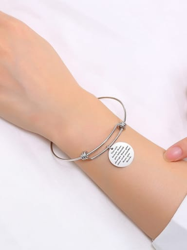 Stainless Steel With Hollow Geometry English Alphabet Bangles