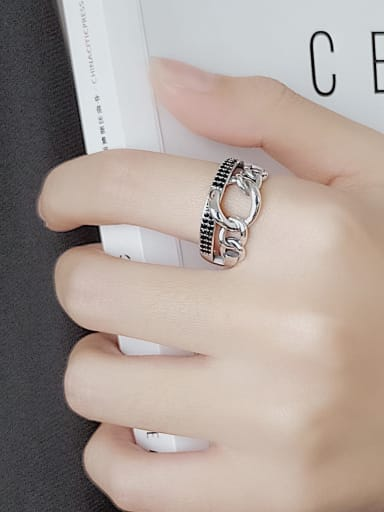 Vintage Sterling Silver With Antique Silver Plated Vintage Geometric Free Size Rings