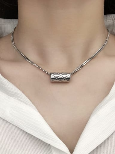Vintage Sterling Silver With Antique Silver Plated Simplistic Geometric Necklaces