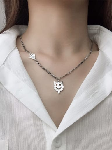 Vintage  Sterling Silver With Antique Silver Plated Cute Devil Smiley Necklaces