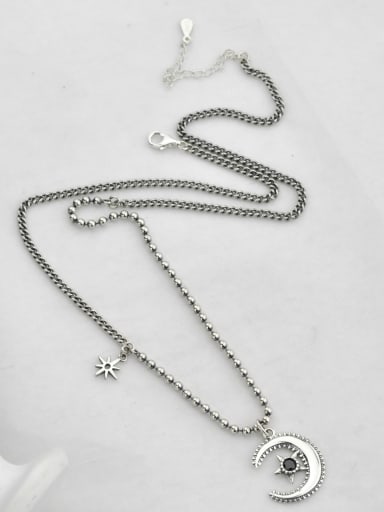 Vintage Sterling Silver With Antique Silver Plated Simplistic Moon Power Necklaces