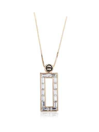 Open rectangle Swarovski element crystal necklace for party Charm