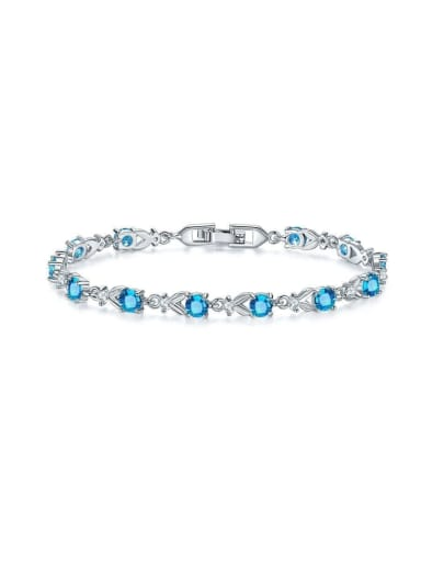 Copper With White Gold Plated Delicate Cubic Zirconia Bracelets