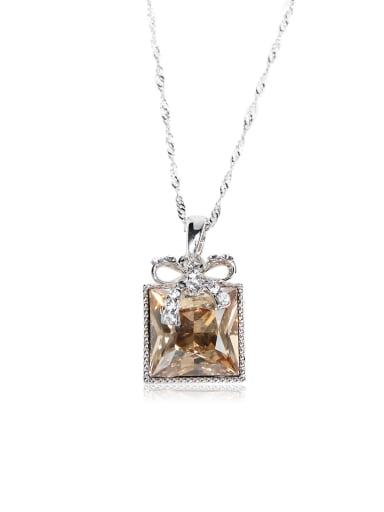 Sweet  bowknot Simple block Swarovski element crystal necklace
