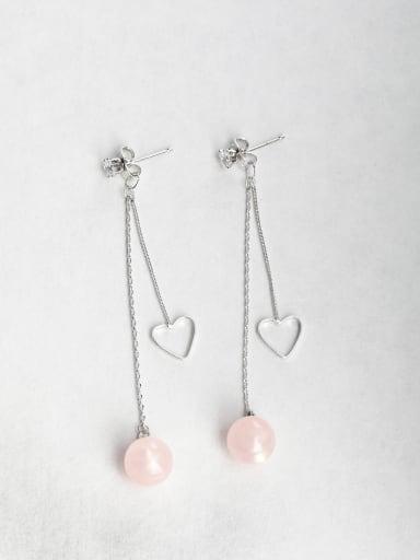 Pink Ball Zircon Copper inlaid platinum Drop Earrings