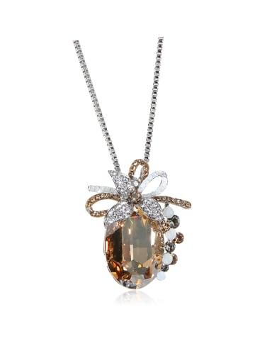 Rhinestone flower Large SWAROVSKI element crystal white ring necklace