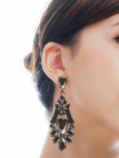 Stainless Steel With Black Gun Plated Luxury Water Drop Earrings