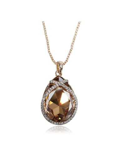 Big Simple Drop shaped Swarovski element crystal necklace Multicolor