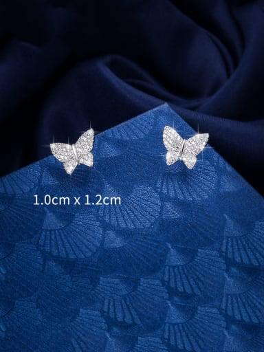 Copper With Platinum Plated Cute Butterfly Stud Earrings