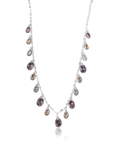 Oval  gorgeous Swarovski element crystal necklace Multicolor