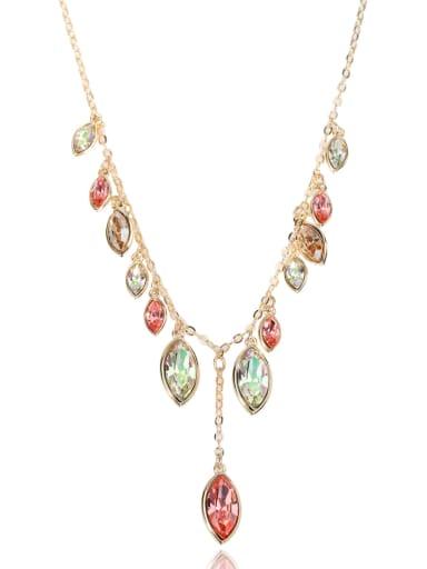 Horse Eye Stone gorgeous Swarovski element crystal necklace Multicolor