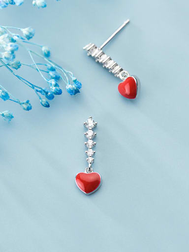 925 Sterling Silver With Platinum Plated Cute Heart Stud Earrings