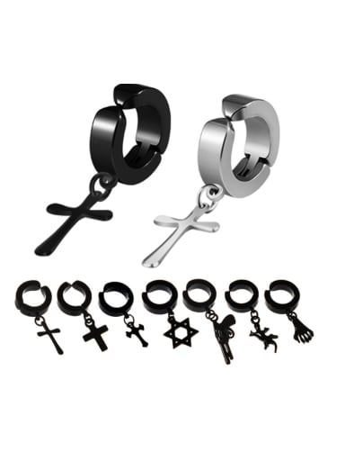 Stainless Steel With Gun Plated Punk Cross animal Clip On Earrings