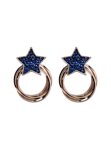 Alloy With Antique Copper Plated Fashion Star heart Stud Earrings