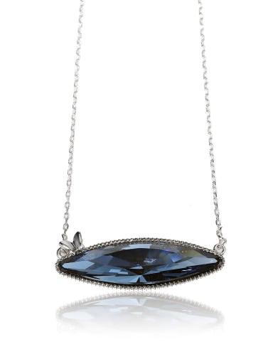 Unique luxury eye shape stone Swarovski element crystal necklace