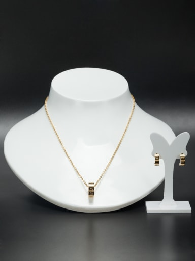 Stainless steel Round Gold 2 Pieces Set
