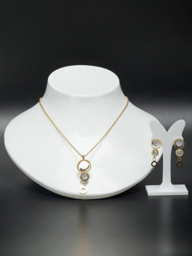 Personalized Stainless steel Gold Round Rhinestone 2 Pieces Set