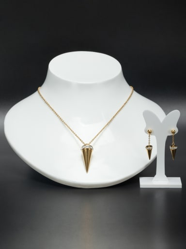 Gold color Stainless steel Bullet Rhinestone 2 Pieces Set