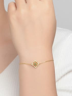 Square Shaped Accessories Gold Plated Silver Bracelet