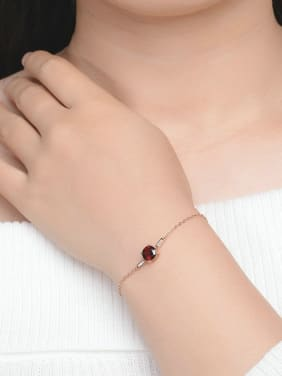 Natural Small Red Garnet Micro Pave Zircon Women Bracelet