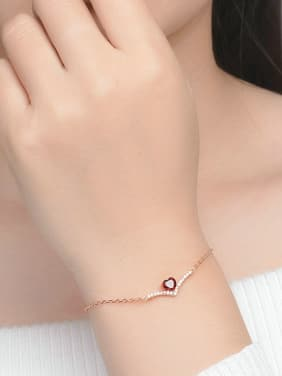 Exquisite Heart-shape Rose Gold Plated Bracelet