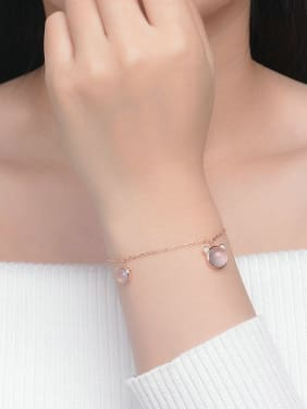 Beautiful and Simple Style Women Bracelet with Pink Crystal