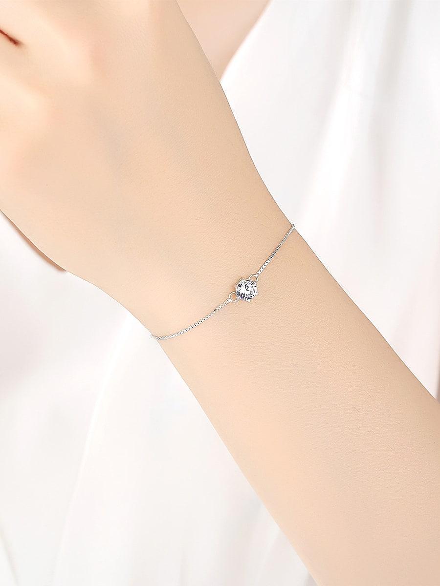Sterling silver single AAA zircon bracelet