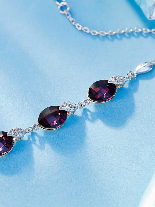 Leaf-shaped Crystal Bracelet