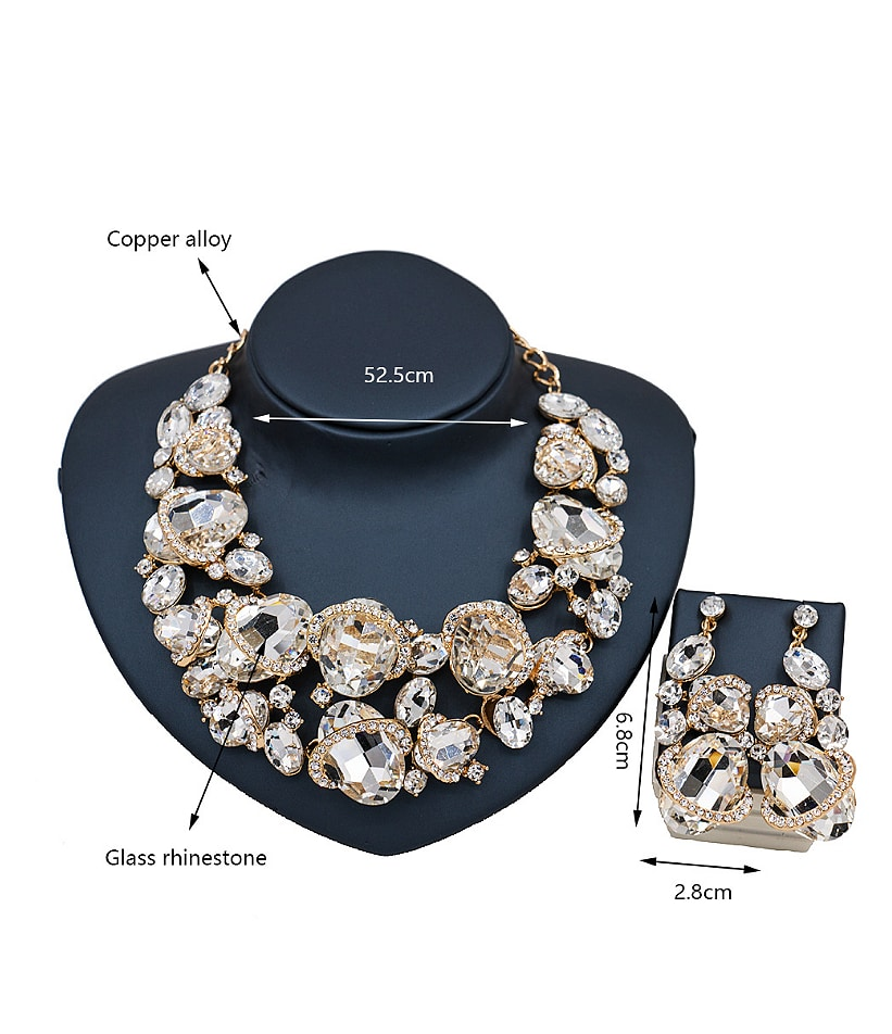 2018 Oval Glass Rhinestones Two Pieces Jewelry Set