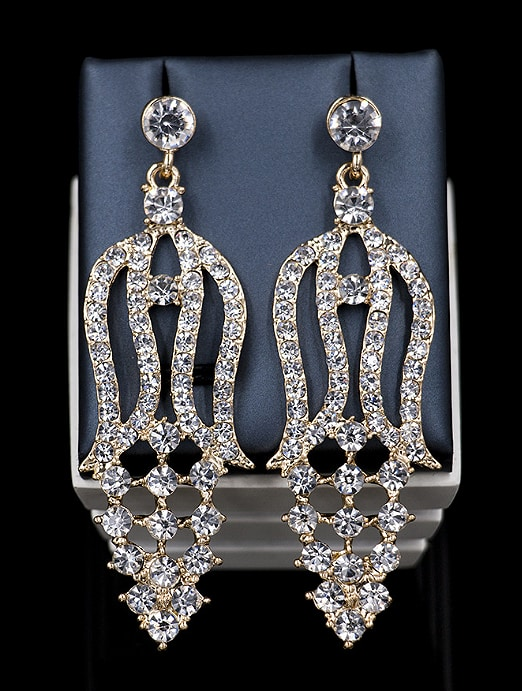 Exaggerated Cubic Rhinestones Two Pieces Jewelry Set