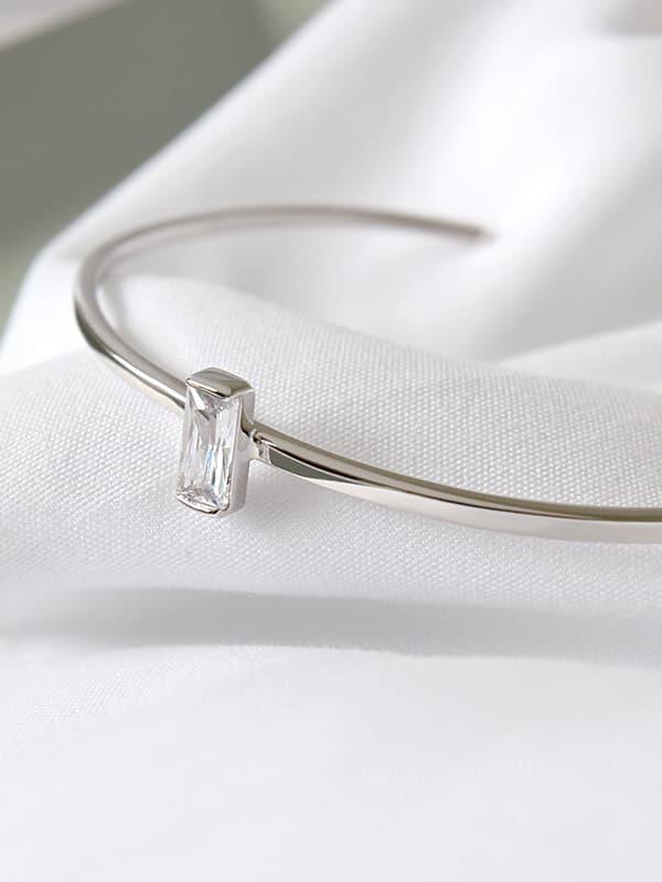 Pure silver Simple Geometric Square Zircon Free Size Bracelet