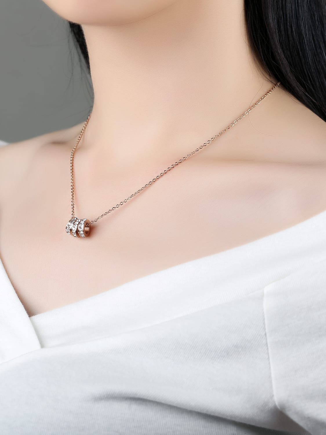 7729f2360 Simple Three Rings Rhinestones Rose Gold Plated Necklace - ToMade
