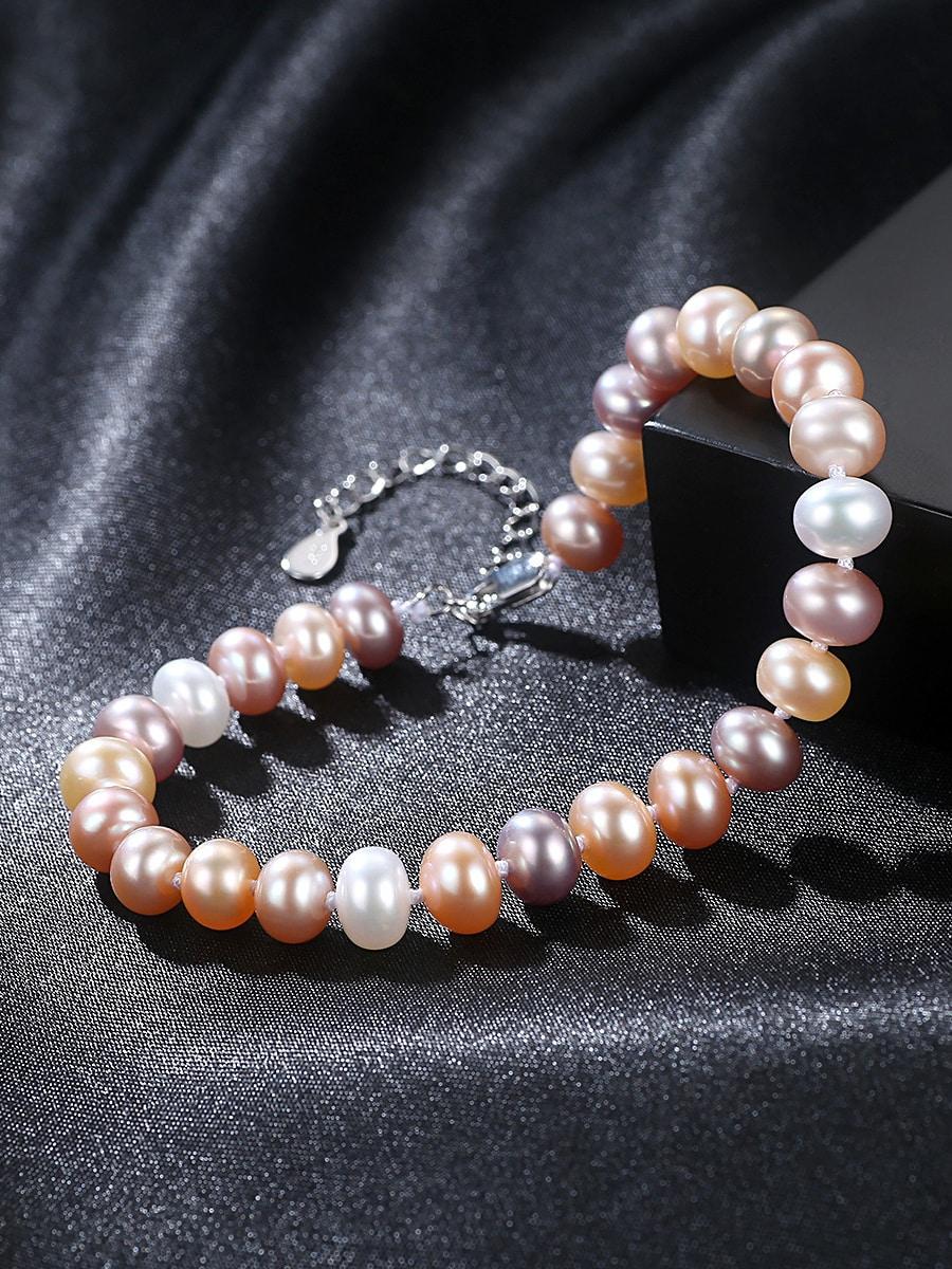 Sterling Silver 6-7mm flat natural freshwater pearl bracelet