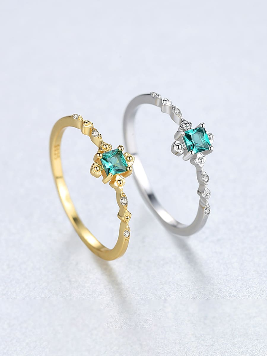 925 Sterling Silver With  Simplistic Cubic Zircon Square Rings