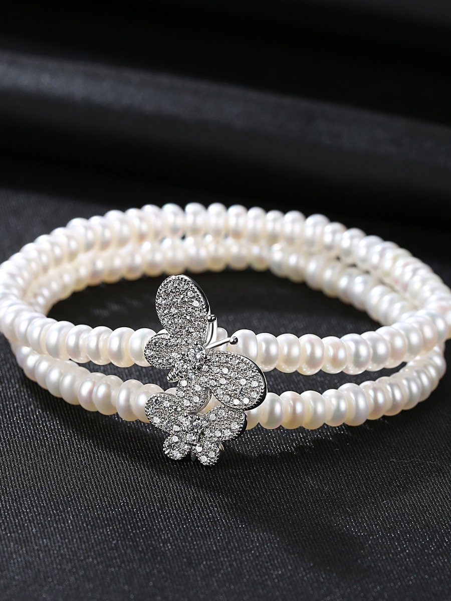 Exquisite jewelry new elegant double-layer natural pearl bracelet