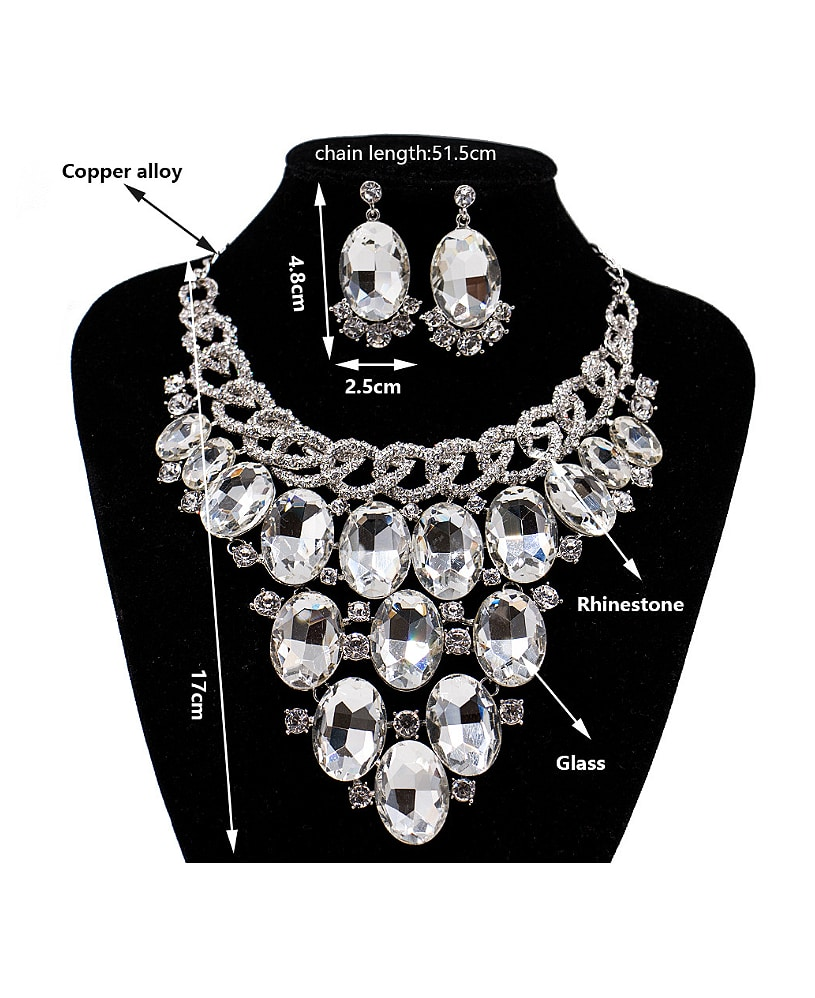 2018 2018 Exaggerated Oval Glass Rhinestones Two Pieces Jewelry Set