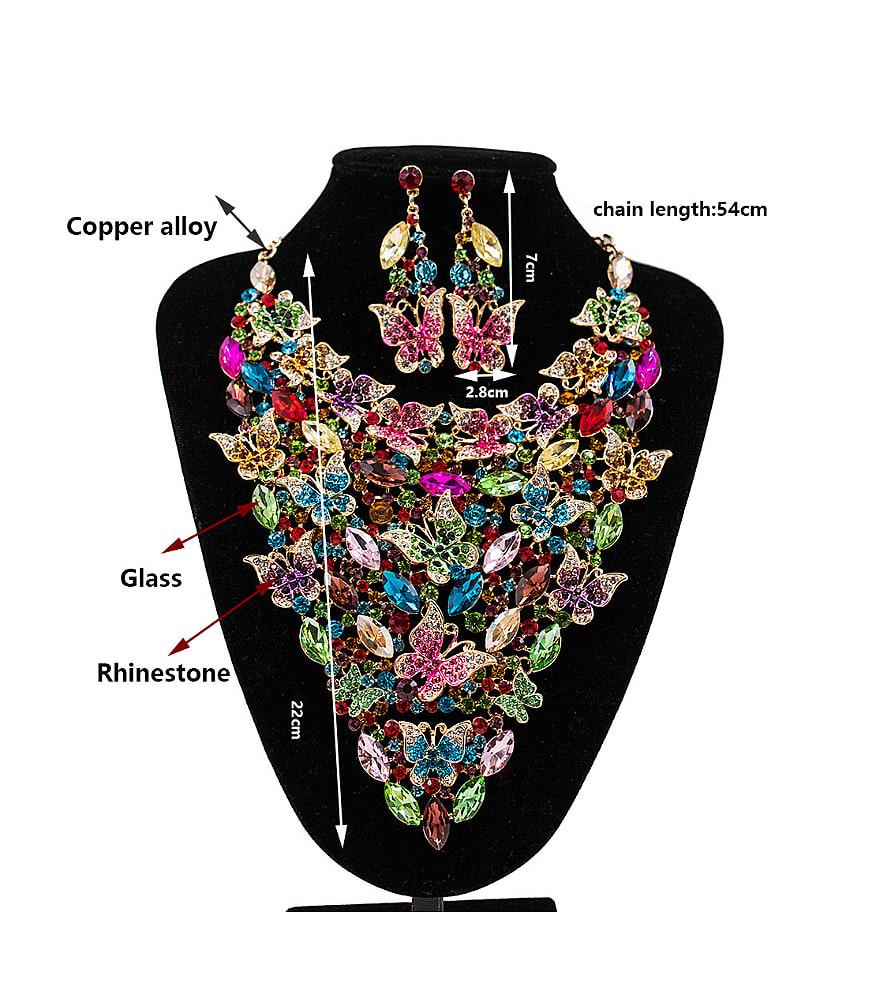 Butterflies Glass Rhinestones Two Pieces Jewelry Set