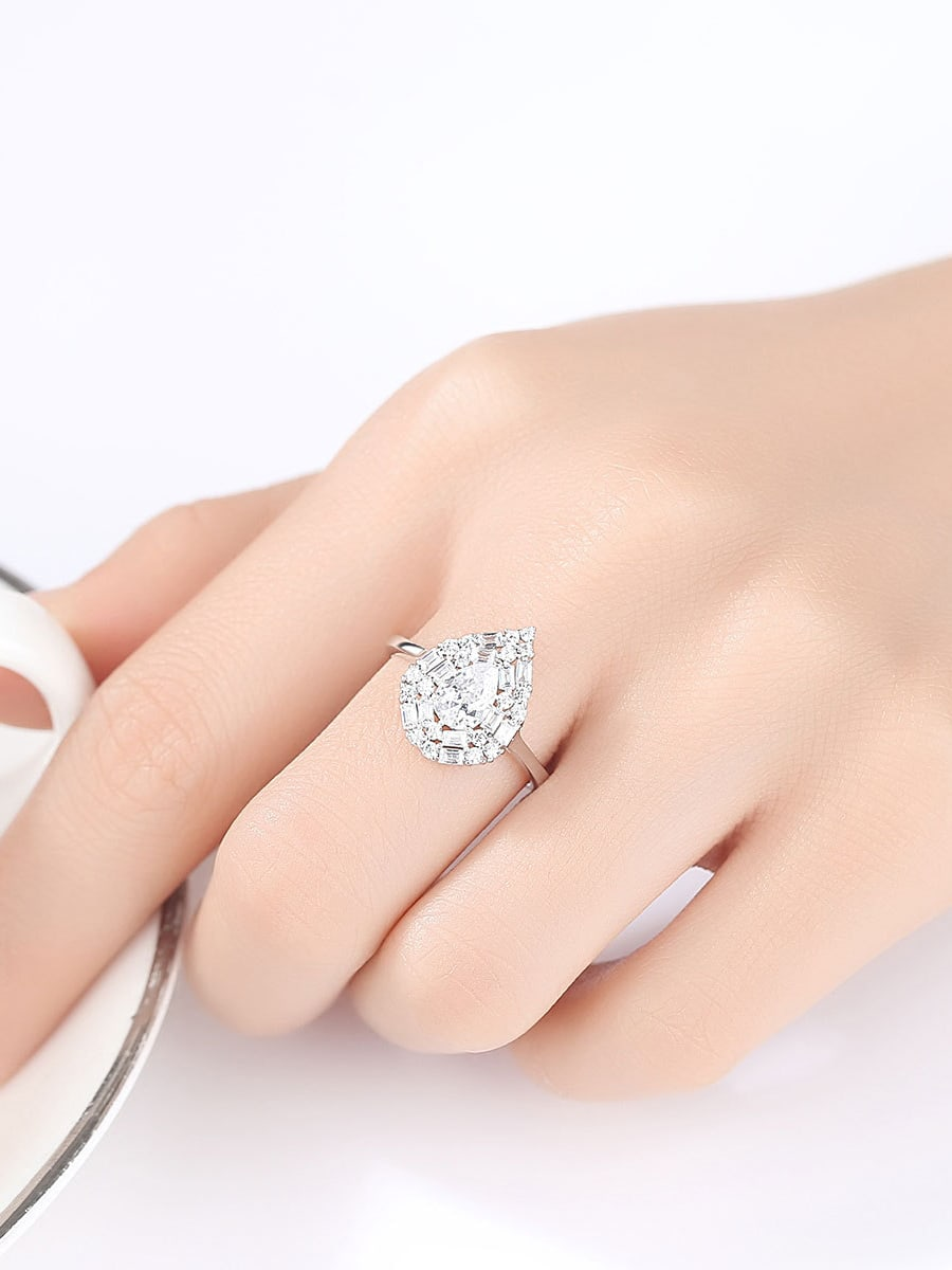 Sterling Silver water drop design 3A Zircon ring