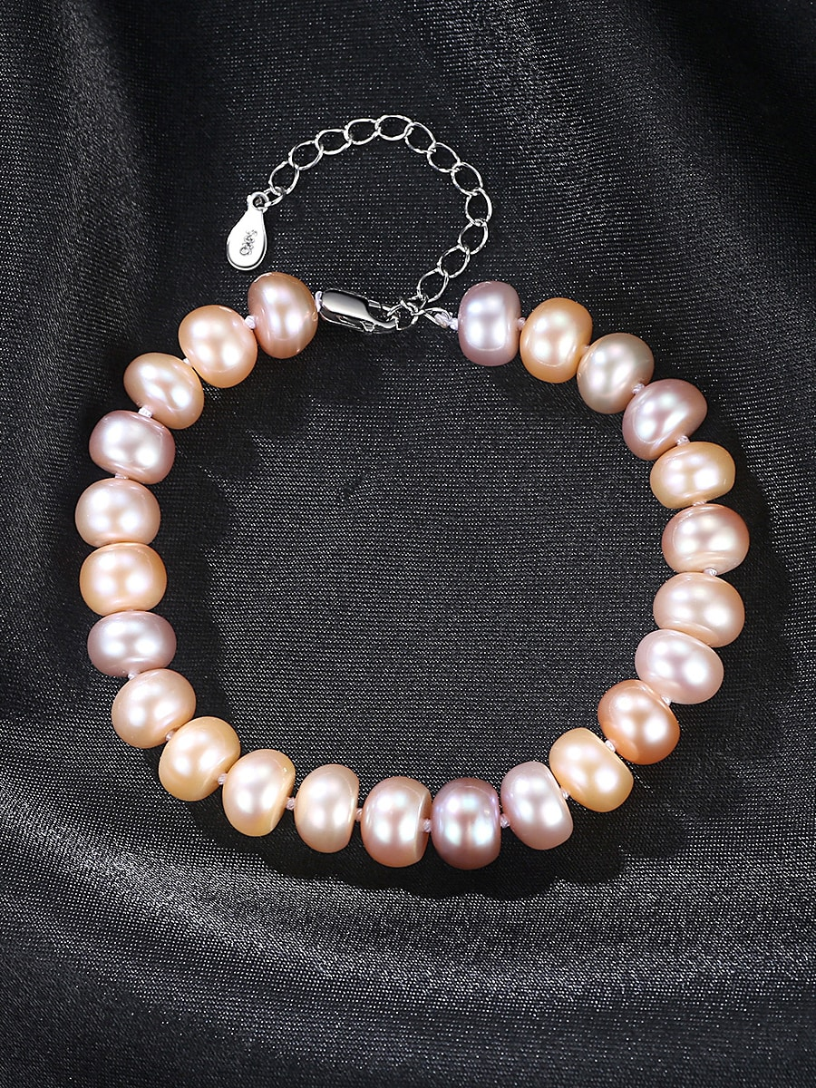 Sterling Silver 8-9mm flat mixed color natural freshwater pearl bracelet