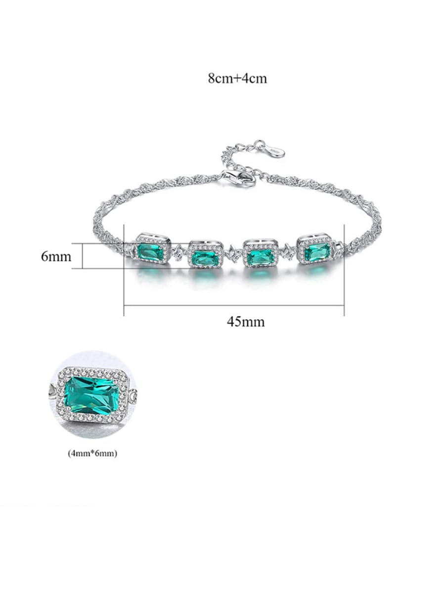 925 Sterling Silver With  Cubic Zirconia  Luxury Geometric Bracelets