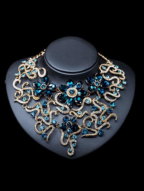 Statement Flower Glass Rhinestones Two Pieces Jewelry Set