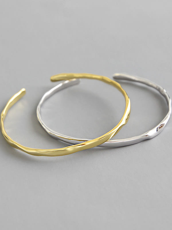 925 Sterling Silver With  Convex-Concave Simplistic  Round Free Size Bangles