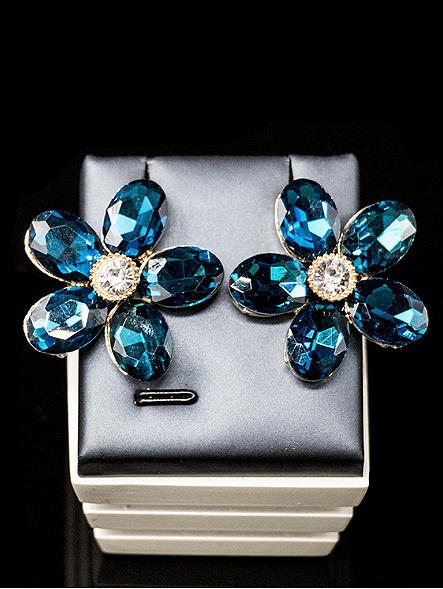 Statement Flower Glass Rhinestones Two Pieces Jewelry Set