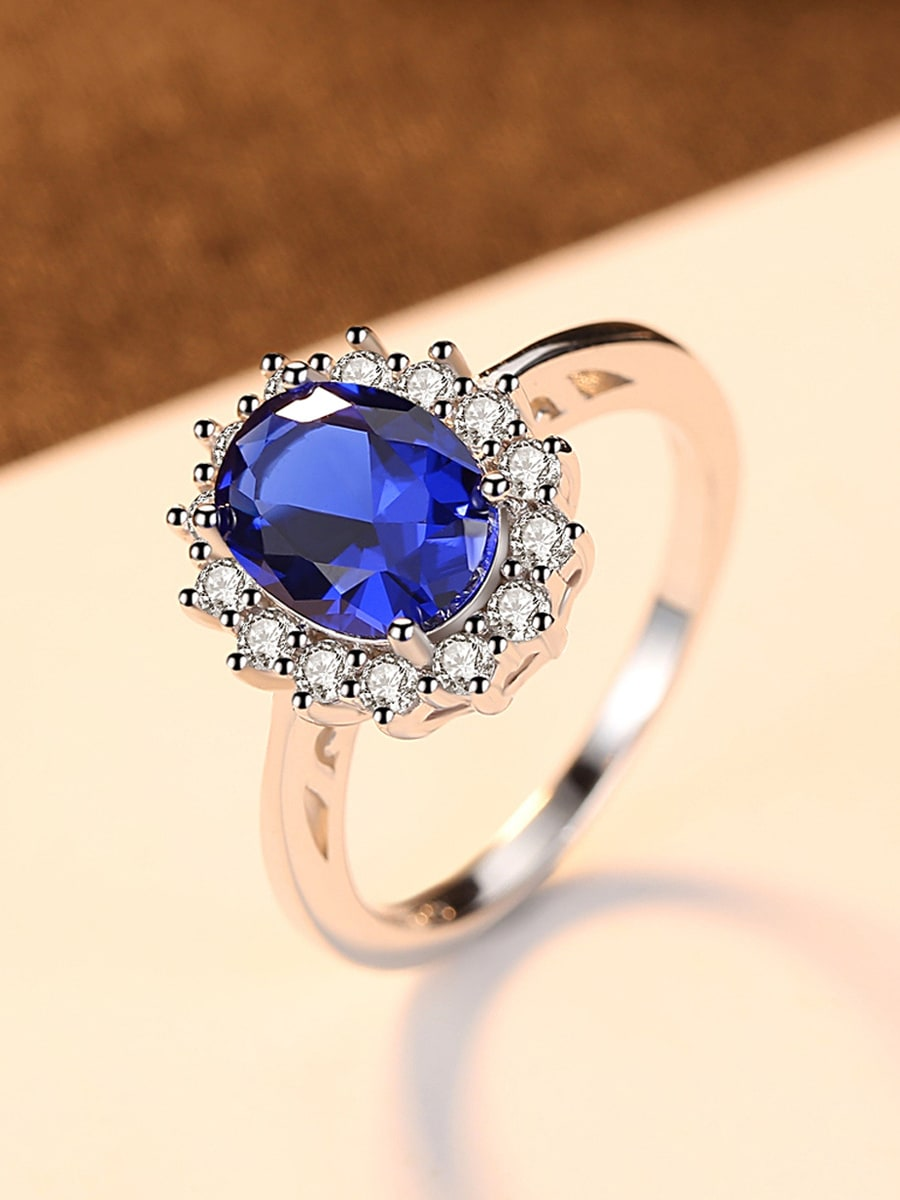 Sterling silver AAA zircon classic blue semi-precious stone ring