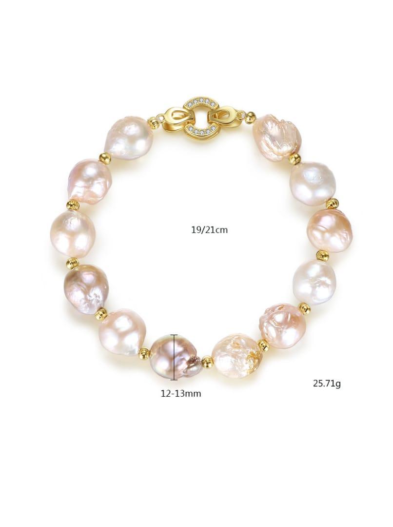 Pure silver plating 18K-gold Baroque natural pearl bracelet